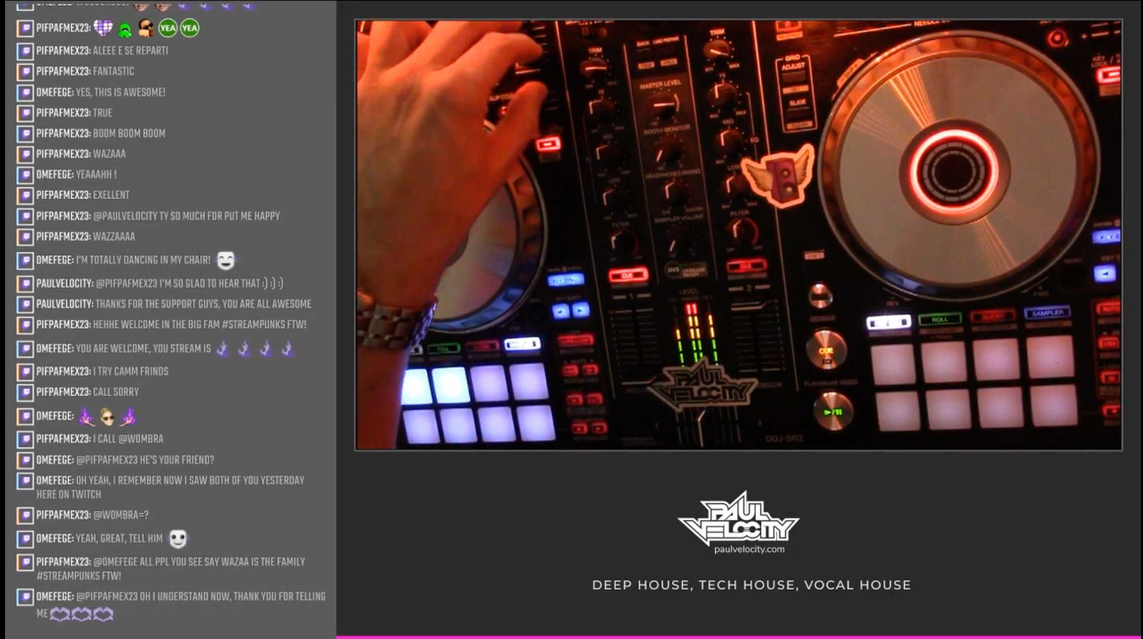Screenshot of an episode of HouseBound showing a birds eye view of DJ mixing equipment